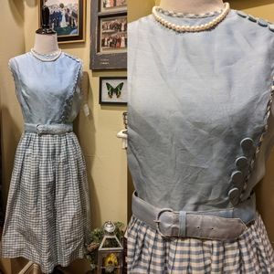 Vintage 50s Blue White Gingham Buttons Dress